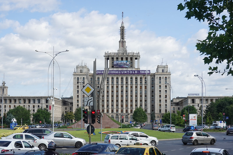This building was the Communist News Center during the Communist occupation years after WWII of Romania.