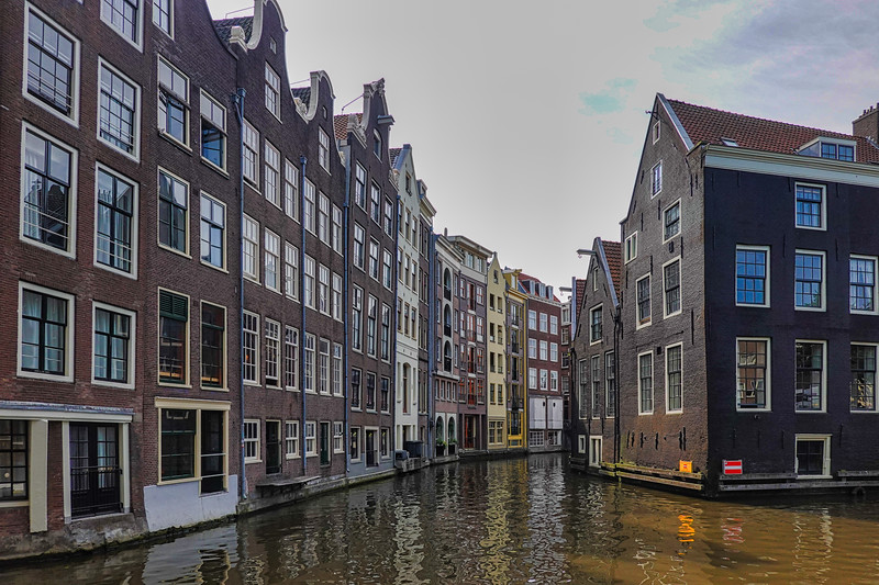 Touring in the canal waterways of Amsterdam, Netherlands.