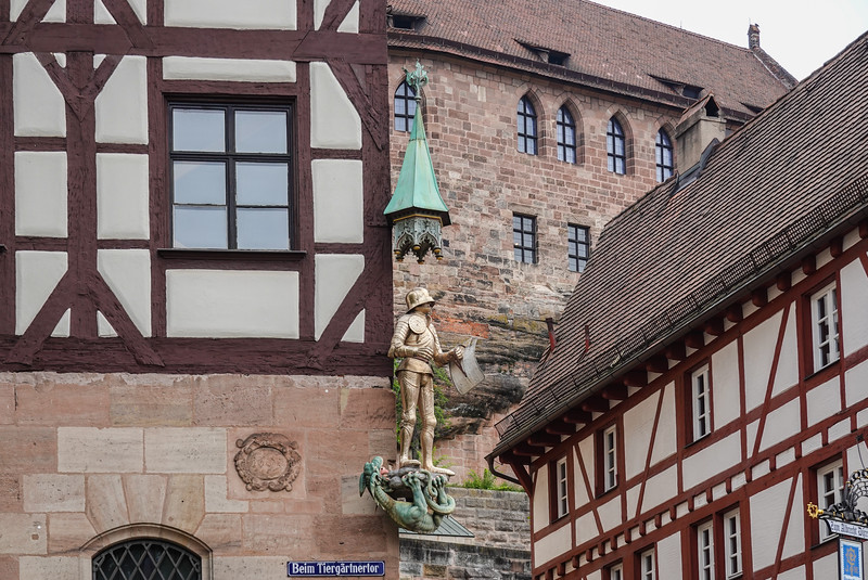 Building decorations in Old Town Nuremberg, Germany.