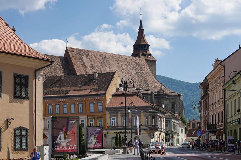 St. Matthias Evangical Church in the background. Rasnov, Romania.