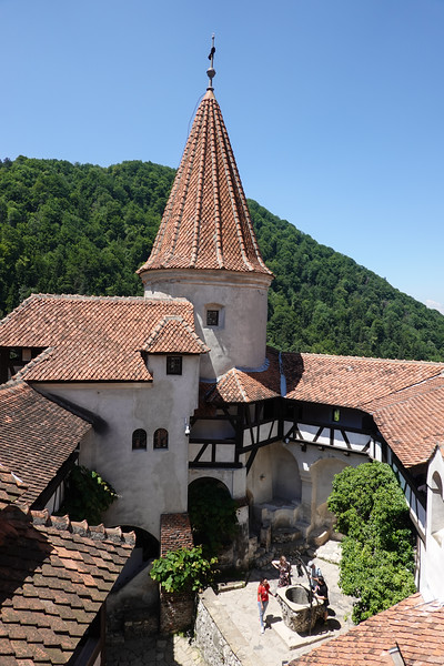 View of the Brasov Castle courtyard from level three.