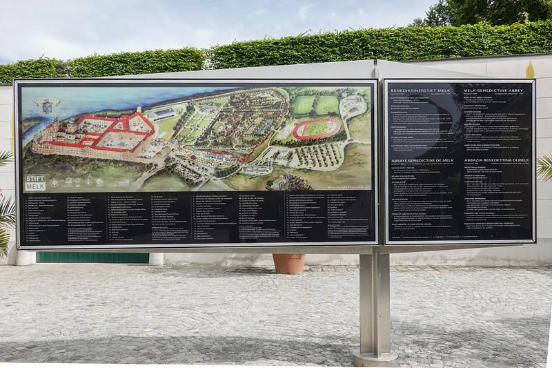 Maps of the Melk Abbey grounds. Melk, Austria.