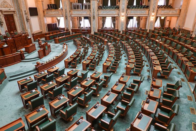 The Romanian Parliament meets here. Bucharest, Romania.