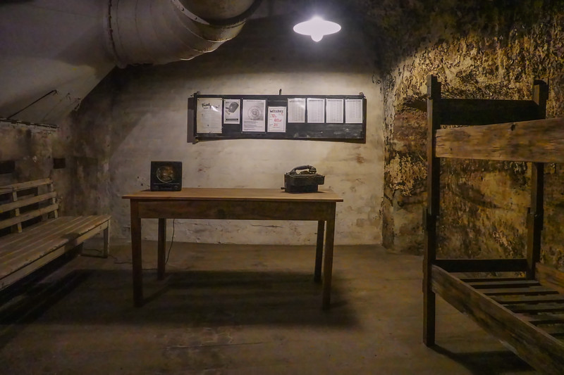 Sleeping quarters for the guards in the cellars under Nuremberg, Germany while on guard duty to protect the stored art and jewels.