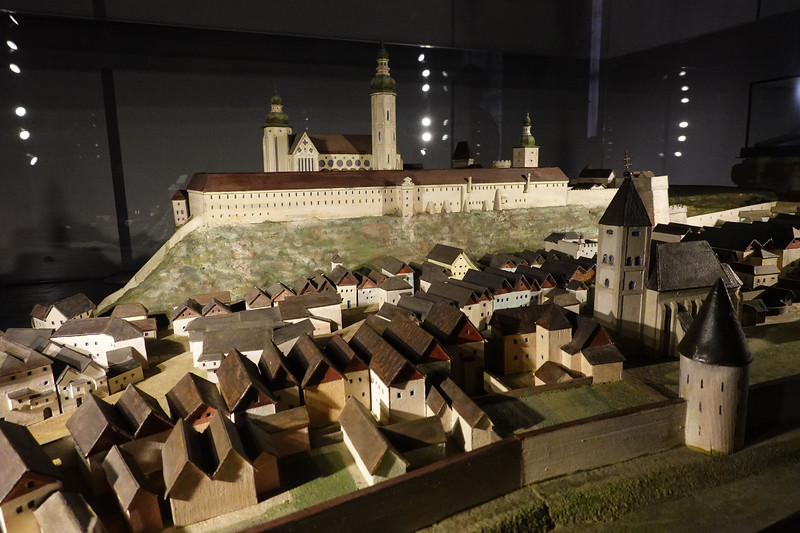 Model of the Melk Abbey and town when the walls still existed. Austria.