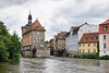The Bamberg town hall (center of canals) originally constructed in 1467.