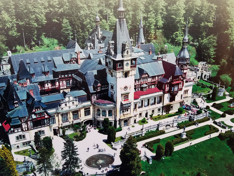 A picture of a picture of Peles National Castle/Museum and immediate grounds in Romania.
