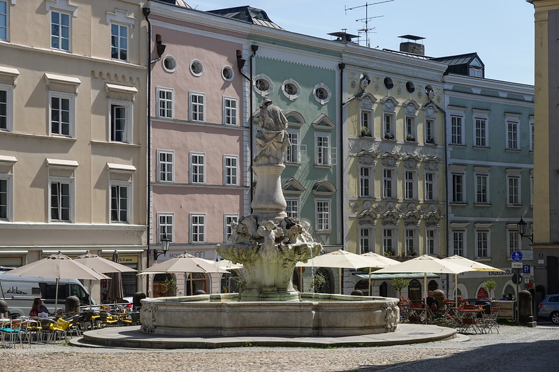 Residenz Platz (Bishop's Residence) Fountain near St Stephan Cathedral in Passau, Lower Bavaria, Germany.
