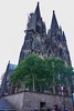 A close-up view of the UNESCO World Heritage Site, the Twin Towered Gothic Cathedral of Cologne. Construction of this cathedral started on August 15, 1248.