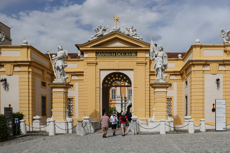 Entering the Melk Abbey grounds in Austria.