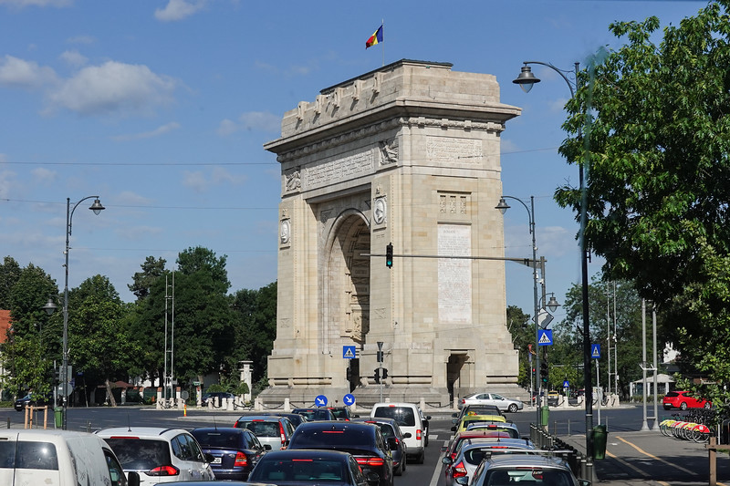 Arcul de Triumf is a triumphal arch located in the northern part of Bucharest, on the Kiseleff Road. It is to celebrate Romania's Independence in 1878.  It is a copy of the Arc de Triomphe in Paris, France.