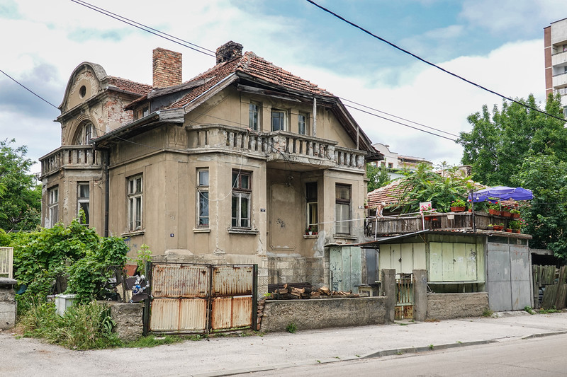 Intriguing old home crying for a makeover across from a waterfront park in Vidin, Bulgaria