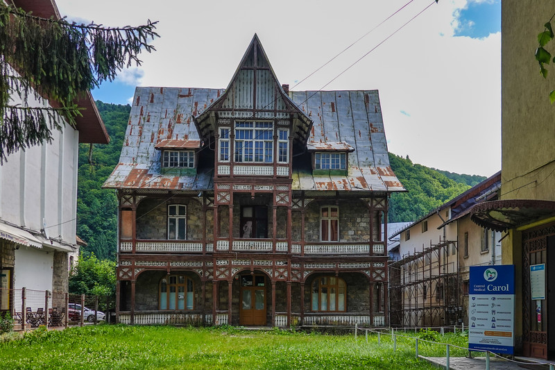 Interesting abandoned old home in the Sinaia ski resort  village area in the Southern Carpathians, Romania.