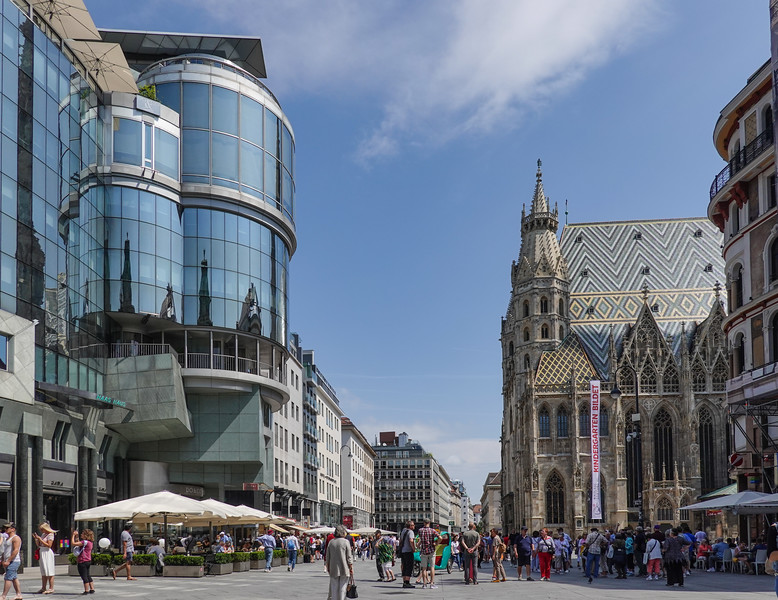 Edge of the shopping district in Vienna with St. Stephen's Cathedral in the background. Austria.
