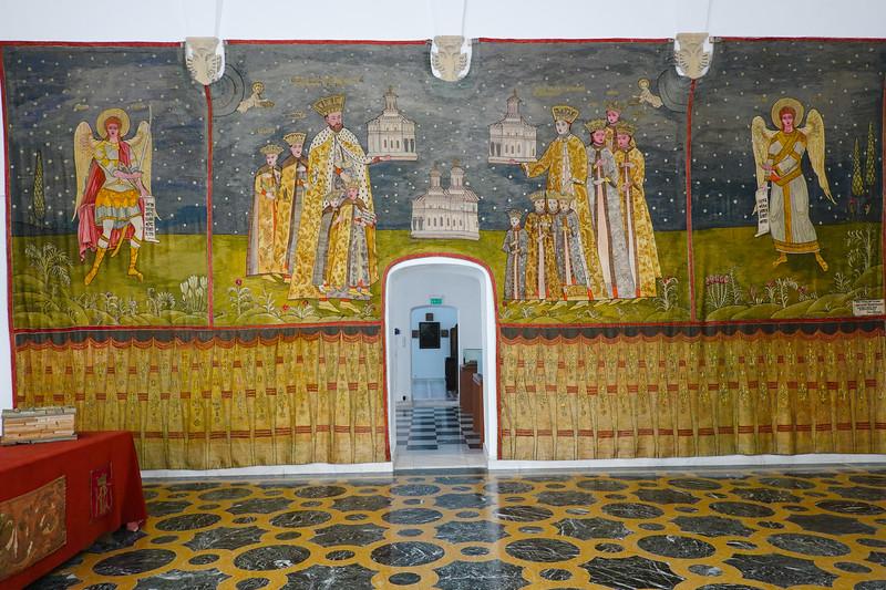 Wall mural inside Mogosoaia Palace.