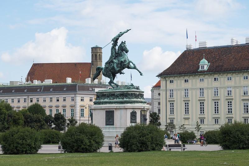 Commemorative statue in Vienna's Historic Center.