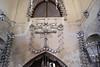 Decorations inside the Sedlec Ossuary, aka, the Church of Bones in Kutna Hora, Czech Republic.