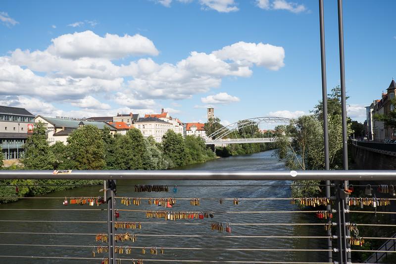 Love locks in Bamberg, Germany.