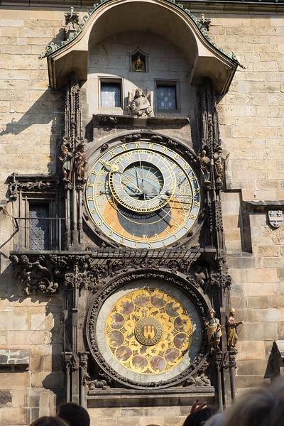 The Sun Dial  clock in Prague, Czech Republic.