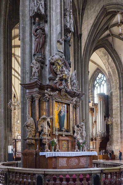 Detail inside Saint Stephen's Cathedral, Vienna.