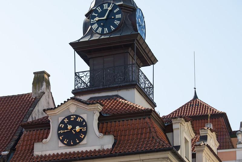 Hebrew and Roman time in Prague, Czech Republic.