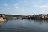 View down the Vltava River in Prague, Czech Republic.