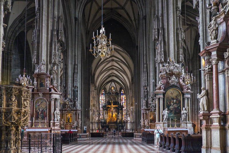 Inside Saint Stephen's Cathedral, Vienna.