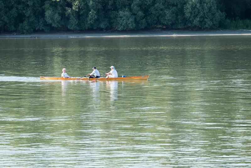 Rowing on the Danube between Bratislava, Slovakia and Budapest, Hungary.