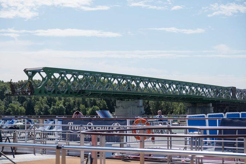 Passing an unfinished bridge as we leave Braislava, Slovakia.