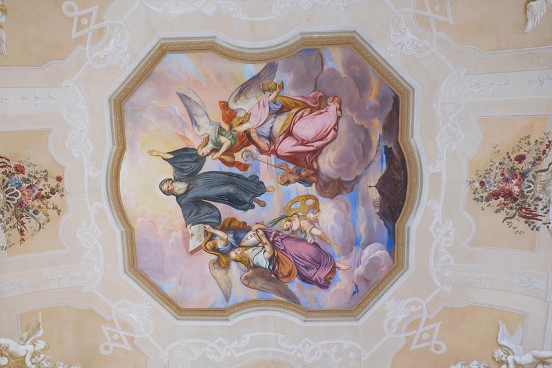 Ceiling decoration inside Melk Abbey.