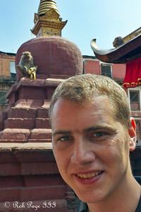 Rob and a monkey at Swayambhunath, the monkey temple - Kathmandu, Nepal ... May 29, 2014 ... Photo by Emily Page