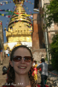 Emily in front of Swayambhunath, the monkey temple - Kathmandu, Nepal ... May 29, 2014 ... Photo by Rob Page III