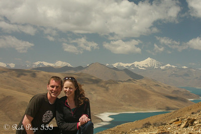 Rob and Emily above Yamdrok Lake along the road from Lhasa to Gyangze - Zhamalong, Tibet, China ... May 23, 2014 ... Photo by Rob Page III