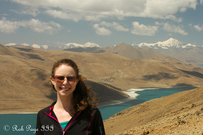 Emily above Yamdrok Lake along the road from Lhasa to Gyangze - Zhamalong, Tibet, China ... May 23, 2014 ... Photo by Rob Page III