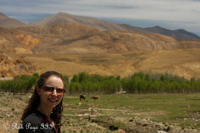Emily enjoying a break along National Route 318 - Shigatse, Tibet, China ... May 25, 2014 ... Photo by Rob Page III