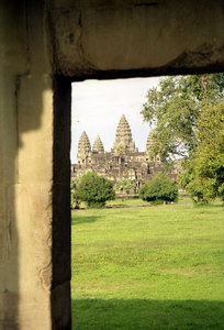 Angkor Wat.  This is probably the most impressive of the temples in the Angkor Wat complex at Siem Riep.  It is found on the Cambodian flag.  This temple was never left to the jungle and is an immense complex built at the beginning of the 12th century for Suryavarman in honour of Vishnu. ... August 14, 2004 ... Copyright Robert Page III