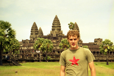 Myself in front of Angkor Wat.  This is probably the most impressive of the temples.  It is found on the Cambodian flag.  This temple was never left to the jungle and is an immense complex built at the beginning of the 12th century for Suryavarman in honour of Vishnu. ... August 14, 2004 ... Copyright Robert Page III