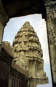 This is the top of Angkor Wat.  This type of temple is called a prasat and from what I can tell the cones at the top are called prasats. ... August 14, 2004 ... Copyright Robert Page III