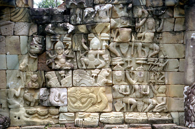 A trippy mosaic in the middle of Angkor Thom. ... August 15, 2004 ... Copyright Robert Page III