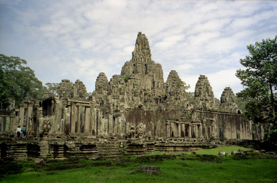 The Bayon from the north west.  Bayon is part of the Angkor Thom complex. ... August 14, 2004 ... Copyright Robert Page III