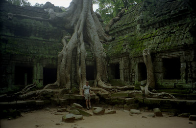Myself at Ta Prohm.  I look like a midget and I am six feet three inches tall. ... August 15, 2004 ... Copyright Robert Page III