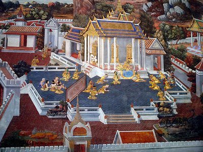 One of the paintings on the walls that surround the Wat Phra Kaew Temple complex. ... August 17, 2004 ... Copyright Robert Page III