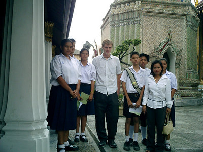 A group of school children who interviewed me at the Emerald Buddha temple complex. ... August 17, 2004 ... Copyright Robert Page III