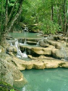 Erawan Falls near Kanchanaburi, Thailand. ... August 19, 2004 ... Copyright Robert Page III