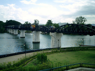 The Bridge over the River Kwai in Kanchanaburi near Bangkok Thailand.  This bridge was built by POWs captured by the Japanese during WWII and the train line leads to Burma.  Also known as the Death Railroad. ... August 18, 2004 ... Copyright Robert Page III