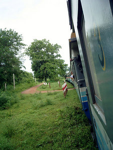 Train on the Death Railway from Thailand to Burma.  I took this train for two hours from the Japanese medical cave all the way to Kanchanaburi. ... August 19, 2004 ... Copyright Robert Page III