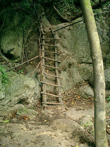 A ladder that is part of the trail winding from the first tier to the seventh tier of the Erawan Falls near Kanchanaburi, Thailand. ... August 19, 2004 ... Copyright Robert Page III