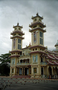 This is the Caodai Great Temple (Thanh That Cao Dai) and is the main temple of Caodaism.  It is located in the Caodai Holy See in Tay Ninh, Vietnam. ... August 12, 2004 ... Copyright Robert Page III