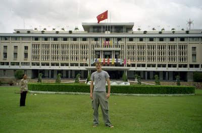Rob Page in front  of the Reunification Palace.  The Reunification Palace was the head of the South Vietnamese governement during the Vietnam War and is where they ultimately capitulated.  Then it was called Independence Palace.  Today many of the rooms are as they were then. ... August 11, 2004 ... Copyright Robert Page III