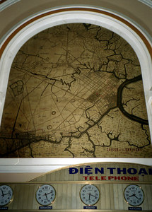 An old map of Saigon within Ho Chi Minh City's Main Post Office.  The Post office is located across the street from Notre Dame. ... August 11, 2004 ... Copyright Robert Page III